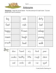antonyms worksheet have fun teaching