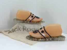 jack rogers navajo black patent whip stitch clear jelly thong