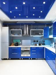 Design Of A Kitchen Blue Lacquer Stretch Ceiling In A Kitchen Blue Ceiling And Blue