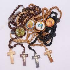 christian rosary 6pcs lot wooden catholic rosary necklace christian pray cross