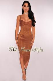 miami hot styles caramel faux suede bustier dress