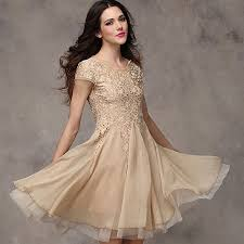 women lace chiffon short sleeves tea party cocktail prom gown
