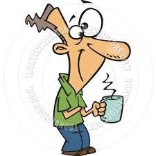 cartoon man holding steaming coffee mug by ron leishman toon