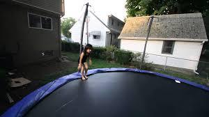 exterior round skywalker trampoline ideas for your outdoor
