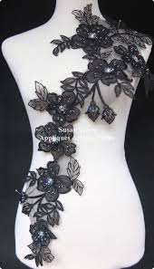 Beautiful Purple Motifs 1pc X 3d Newest Beautiful Handmade Black Sequin Beaded Flower Lace