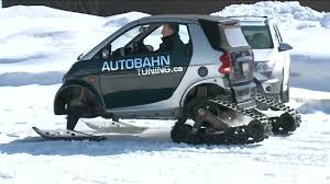 canadian man turns smart car into snowmobile because canada the