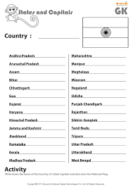 United States Map With State Names And Capitals by Indian States And Their Capitals English Worksheets For Kids