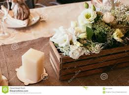 rustic wedding decorations wooden and candle with bouquet o