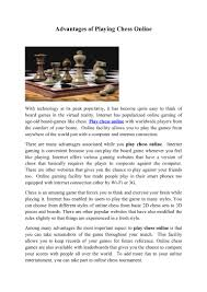 advantages of playing chess online