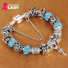 silver plated charm bracelet images Pandora style crystal heart key charm bracelet 925 silver plated png