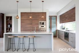 fantastic looking kitchen display of polytec doors and panels in