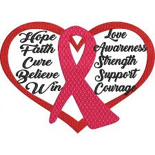 ribbon with words cancer awareness machine embroidery design
