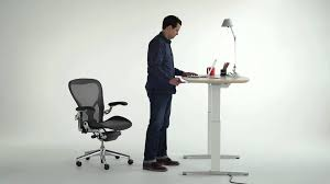 Herman Miller Adjustable Height Desk by Renew Sit To Stand Desk Youtube