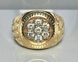 mens gold diamond rings 14k gold mens ring etsy