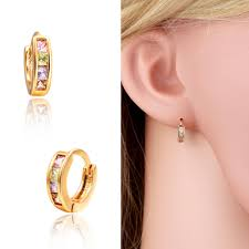 children s hoop earrings gold color pave colors zirconia cz small circles huggies hoop