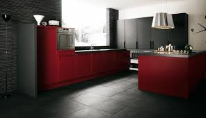 Oven Range Hood Red And Brown Kitchen Decor Black Veneer Laminate Wood Drawer