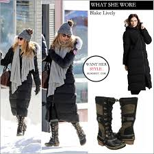canada goose womens boots what she wore lively in black winter parka with black and
