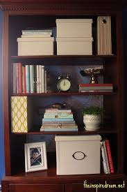 decorate office shelves lighten up a dark bookcase without paint home office makeover