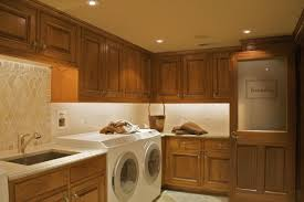 Delectable Wooden Cabinets And Modern Wash Machines For Rustic