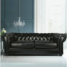 Chesterfield Leather Sofa by Heart Of House Chesterfield Large Regular Leather Sofa Black
