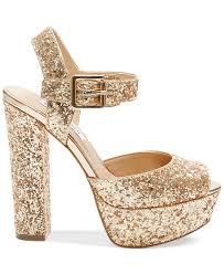 steve madden jillyy two piece platform dress sandals in metallic