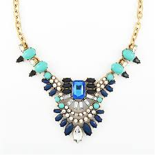 crystal necklace statement images Crystal feather necklace navy and mint stone pendant statement jpg