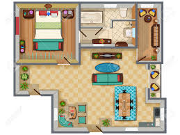 top view of floor plan interior design layout for house with