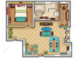 top view of floor plan interior design layout for house with top view of floor plan interior design layout for house with furniture and fixture stock vector