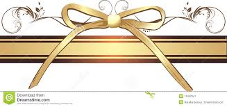 decorative ribbon golden bow with ornament on the decorative ribbon stock image