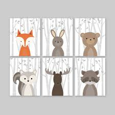 Raccoon Nursery Decor Woodland Nursery Animal Print Baby Boy Nursery Woodland
