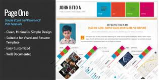 Simple One Page Resume Template Page One Simple Vcard And Resume Cv Template By Wpamanuke