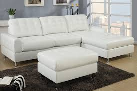 Leather Chaise Sofa Modern Classic White Bonded Leather Sectional Sofa With