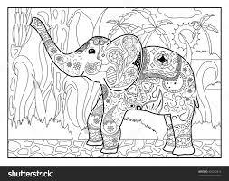 elephant in jungle coloring page mandala style elephant