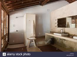 bathroom interior of goan beach house india stock photo royalty