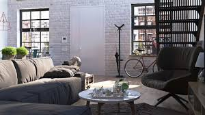 living room simple white brick wall industrial licing room