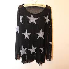 2017 trendy women sweater star long sleeve round hole destruction