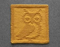knit dishcloth owl knitted unique design gold 100 cotton