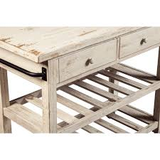 Distressed White Table Distressed White Finish Kitchen Cart With Locking Casters By