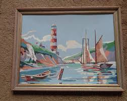 vintage paint by number painting traditional sanpam