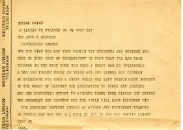 condolence letter from dr martin luther king john f kennedy