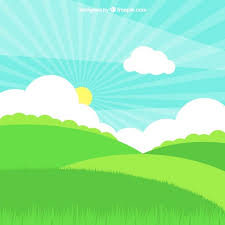 grass field with sun and clouds in flat design vector free