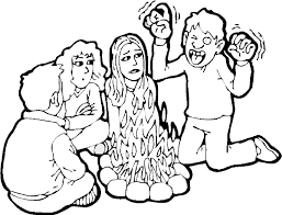summer vacation coloring page telling spooky stories around the
