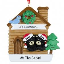 black in christmasy cabin ornament personalized