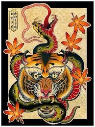 old tiger keeping long green snake in teeth tattoo design