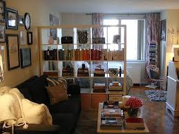 Efficiency Apartment Ideas Studio Apartment Oversized Bookshelf As Room Divide Which Still