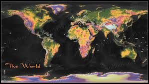 Map Poster World Colorful Topographical Map Poster