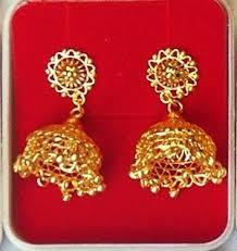 gold kaan earrings jhumka jhumki jewellery india