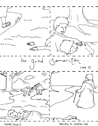 printable coloring page for parable of the good samaritan with the