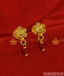 er199 trendy golden flower stud with small
