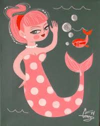 martini mermaid el gato gomez painting retro 1950s pinup mermaid tiki kitschy